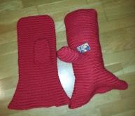 Gitantvotter før toving - Giant mittens before felting