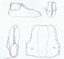 "Tegning fra M. Hald ""Primitive Shoes"" (1972). Merk det åpne tåpartiet og den overdimensjonerte innstiplede foten / Drawing from M. Hald ""Primitive Shoes"" (1972). Note the open toe and the oversized footprint"