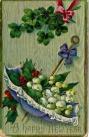 Norsk julehilsen skrevet på kort fra Amerika, Happy newyear! i 1912 / New years greeetings in norwegian on card from America