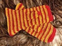 Stripete votter før toving / Striped mittens before felting