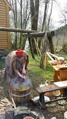 Plantefarging med gullris, ved hjelp av varme steiner / Dying with goldenrod, using hot stones