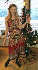 Hanna i omslagskjole fra midten av 1970-tallet / Hanna in a dress from 1970s