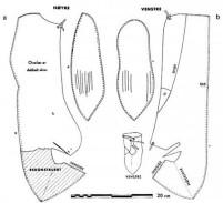 Oseberg nr. 172. Merk forskjellene mellom både såler og overlær. Tegning fra Blindheim (Viking 1959) / Oseberg no. 172. Note the differences between soles and uppers. Drawing from Blindheim (Viking 1959).