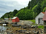Viken i Eikeland, der naustene i ligger samlet / The boathouses at Eikeland
