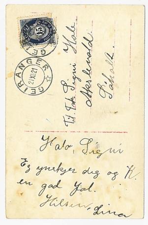 Lina har skrevet hilsen til Signy og Karl i all hast / A hastily christmas greeting from her best friend, to Signy and K.