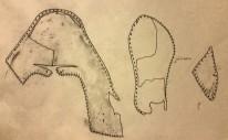 Dokumentasjonstegning av stroppsko / Documentation drawing of the strap shoe