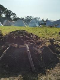 Deler av kullet som ble brukt til blestringen var også brent i kullmile på Herdla / Charcoal kiln
