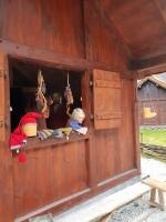 Røde nisseluer i gluggen, og andre varer / We had a couple of Santa's hats in the window