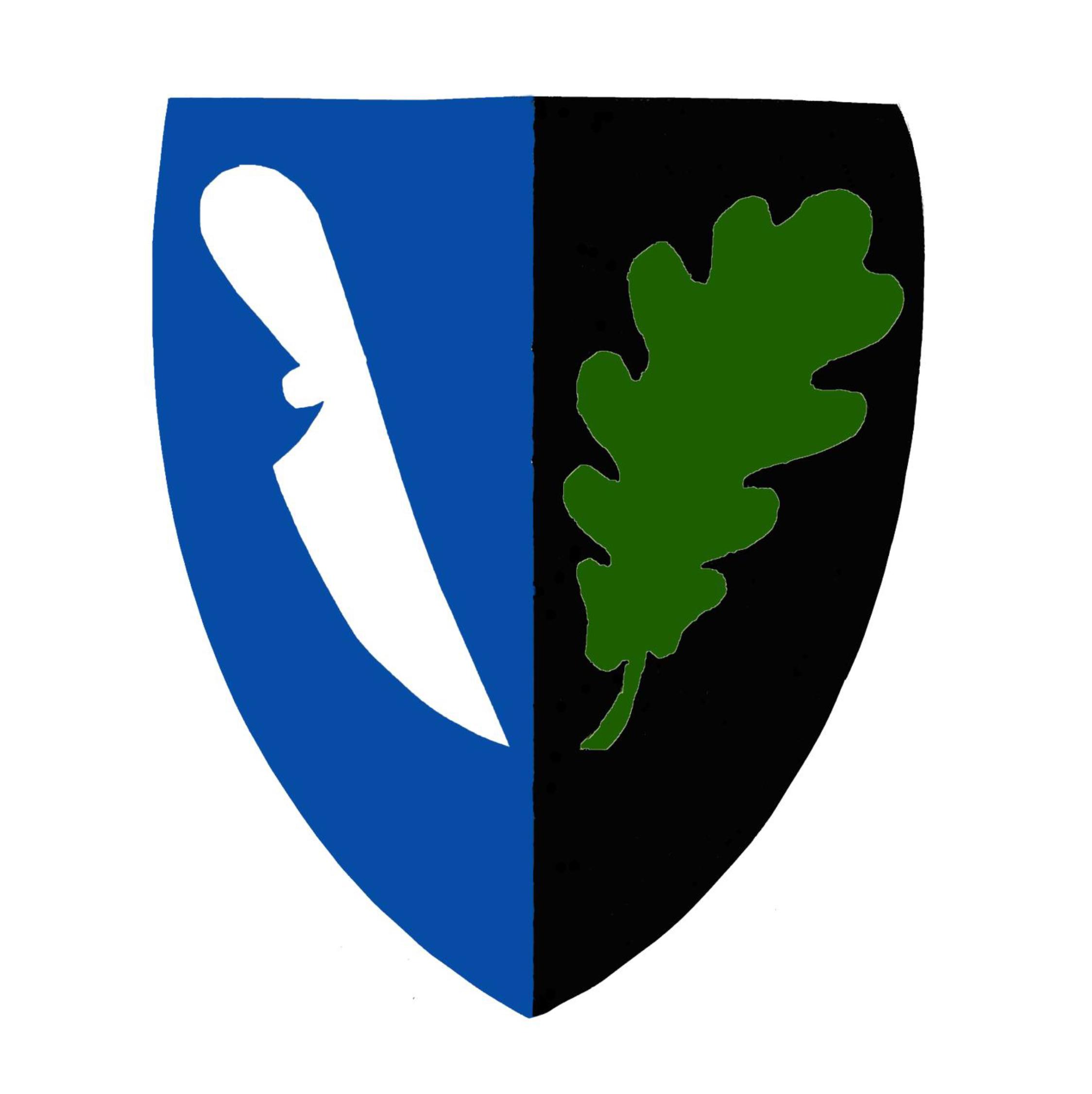 Fortidsfamilien sin logo, satt sammen av eit eikeblad og en kniv - gjett hva den kan? Kutte og skjære - Kutschera :-)